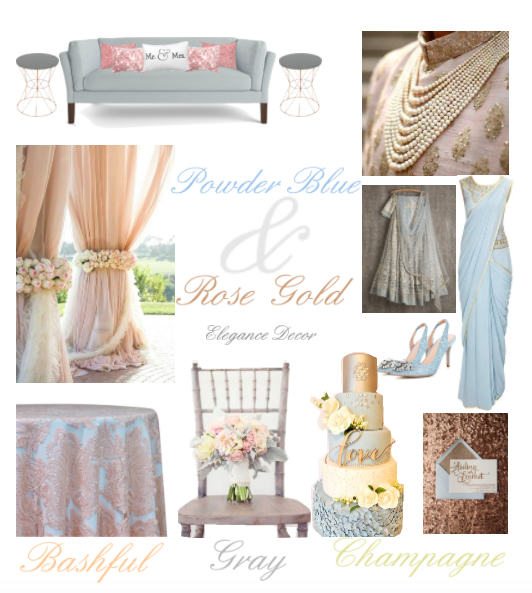 Chicago Indian Wedding Wedding Color palette Powder Blue & Rose Gold with Bashful Champagne and Gray