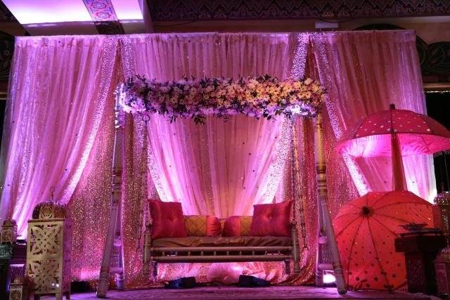 sangeet garba backdrop colorful indian wedding chicago Swing