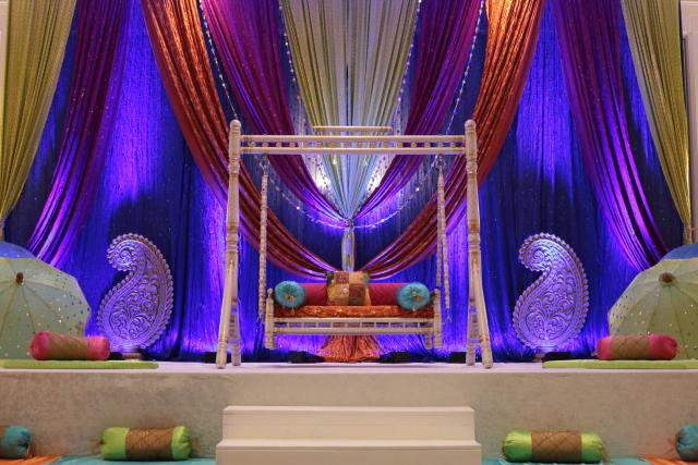 sangeet garba backdrop colorful indian wedding chicago