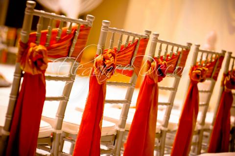 Chiavari chairs with Rose Bow- Decor For an Indian Wedding By Elegance Decor 847-791-0397 contact@elegance-decor.com- Serving the Midwest (Chicago, Iowa, Michigan, Ohio, Indiana)
