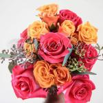 Pink Orange Peach Rose Bouquet- Decor For an Indian Wedding By Elegance Decor 847-791-0397 contact@elegance-decor.com- Serving the Midwest (Chicago, Iowa, Michigan, Ohio, Indiana)