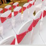 Spandex chair covers with bands- Decor For an Indian Wedding By Elegance Decor 847-791-0397 contact@elegance-decor.com- Serving the Midwest (Chicago, Iowa, Michigan, Ohio, Indiana)
